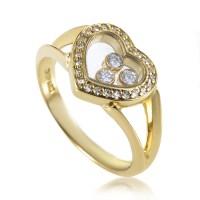 Chopard Happy Diamonds Womens 18K Yellow Gold Heart Ring ...