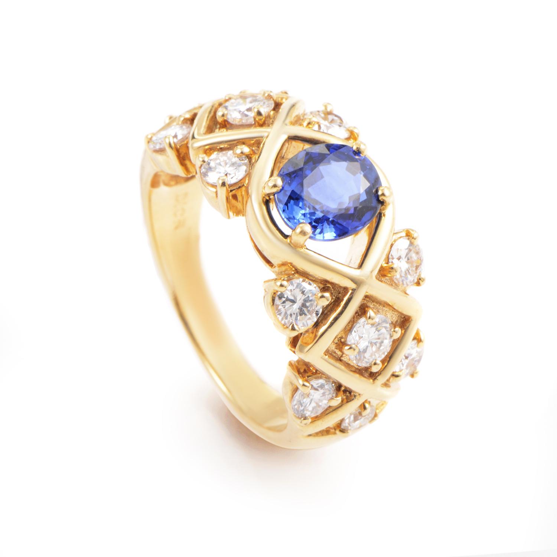 Dior 18K Yellow Gold Diamond and Sapphire Ring   eBay