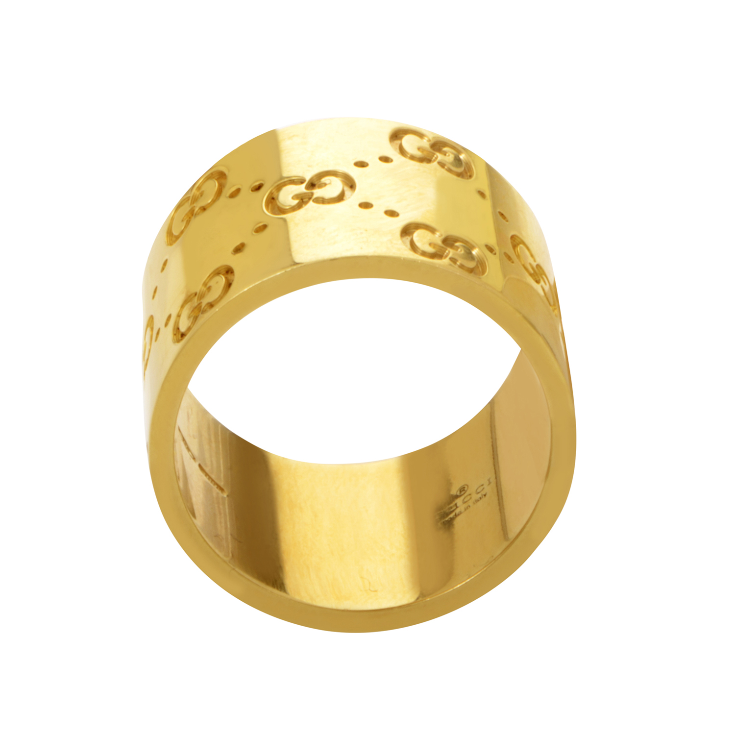 Gucci Icon Womens 18K Yellow Gold Wide Band Ring 05065561  eBay