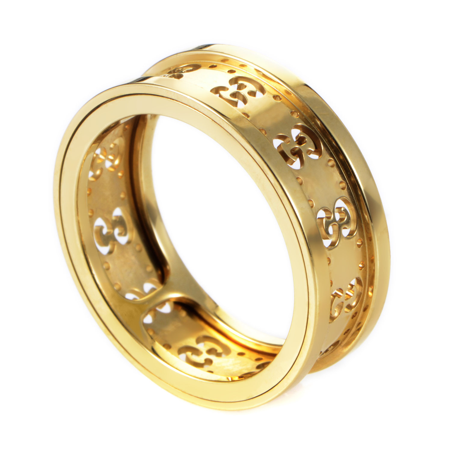 Gucci Icon Womens 18K Yellow Gold Cutout Band Ring AGGUR1039