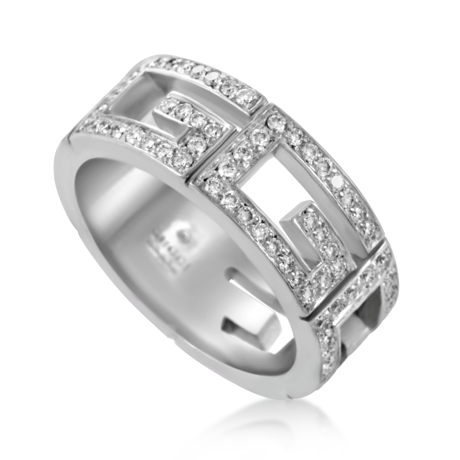 Gucci Womens 18K White Gold Diamond Cutout Band Ring  eBay