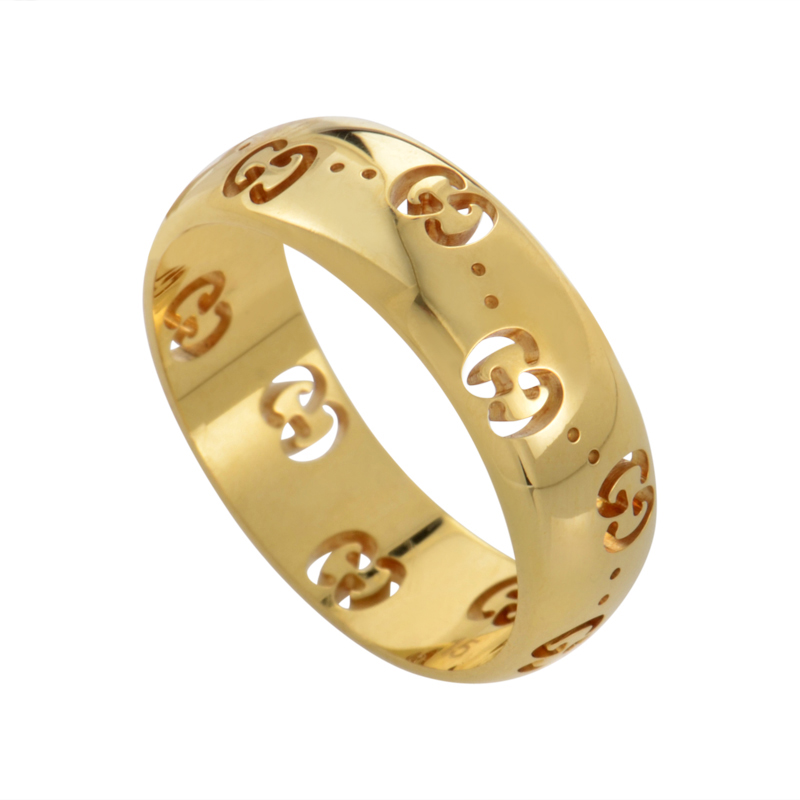 Gucci Icon 18K Yellow Gold Band Ring YBC246470002012  eBay