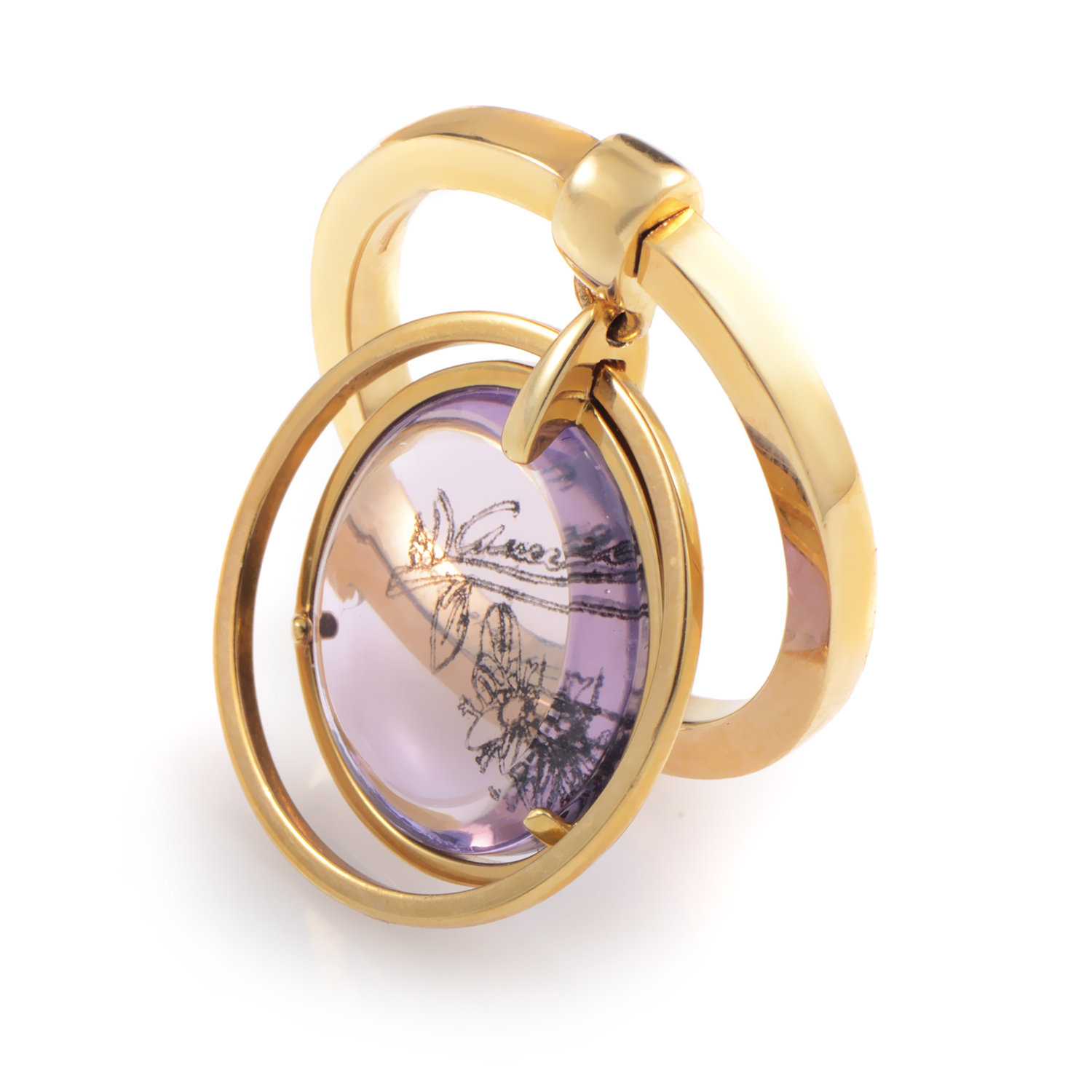 Gucci Flora Womens 18K Yellow Gold  Amethyst Charm Ring  eBay