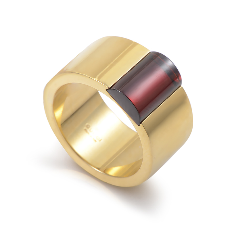 Gucci Womens 18K Yellow Gold Garnet Band Ring  eBay