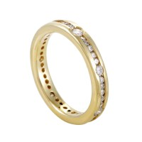 Womens 14K Yellow Gold Diamond Eternity Band Ring | eBay