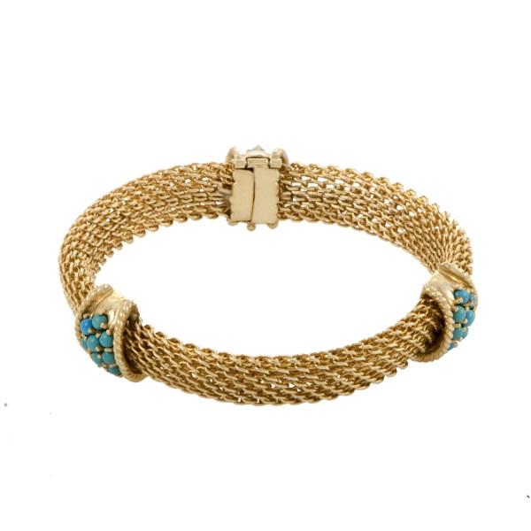 Estate Womens 14k Yellow Gold Turquoise Bracelet Luxury Bazaar