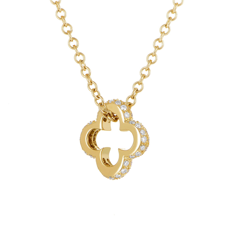 Mouawad 18k Yellow Gold Diamond Quatrefoil Pendant