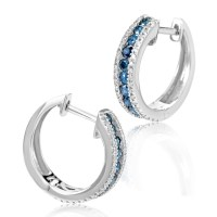 Earrings Women's 14K White Gold Blue & White Diamond Hoop ...