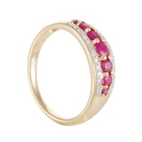 Womens 14K Yellow Gold Diamond and Ruby Band Ring LBR