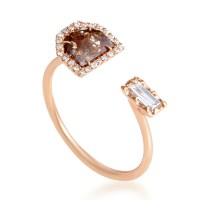 Rings Women's 18K Rose Gold White & Brown Diamond Ring ...