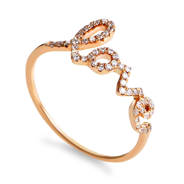 """Rings Women's 18K Rose Gold Diamond """"Love"""" Ring"""