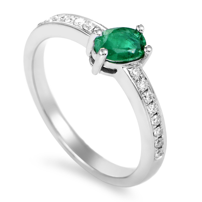 Rings Women's 18K White Gold Diamond & Emerald Ring