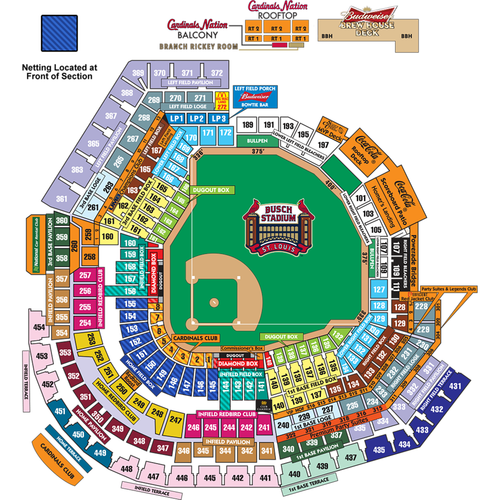 medium resolution of busch stadium seating map netting