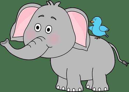 elephant and bird clip art