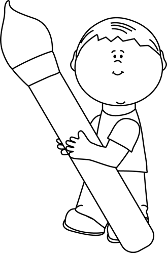 Black And White Boy Holding A Giant Paint Brush Clip Art
