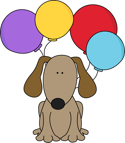 dog with balloons clip art