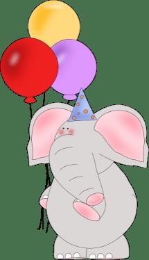 elephant and balloons clip art