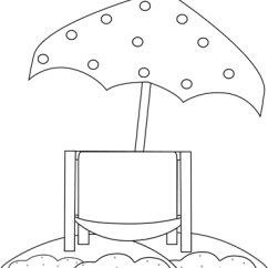 Beach Chair And Umbrella Clipart Swing Stand Only Black White Under Clip Art