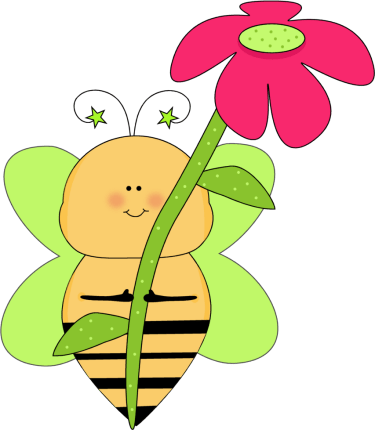 green star bee with pink flower