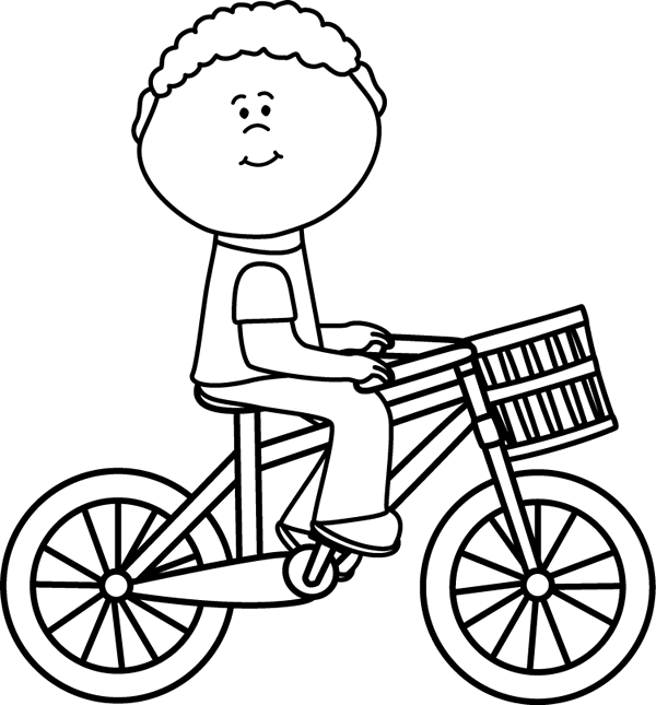 Black & White Boy Riding a Bicycle with a Basket Clip Art