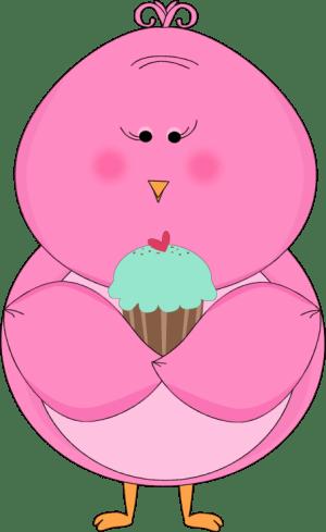 pink bird eating cupcake clip