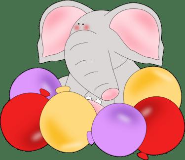 elephant birthday balloons clip