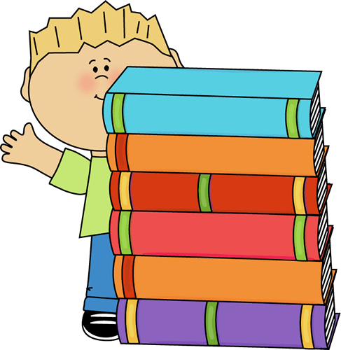 boy waving stack of books