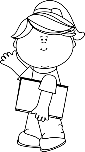Black and White Girl Carrying Book and Waving Clip Art