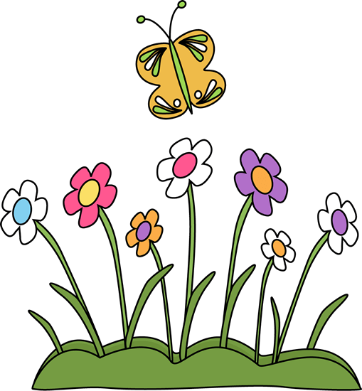 butterfly and flowers clip art