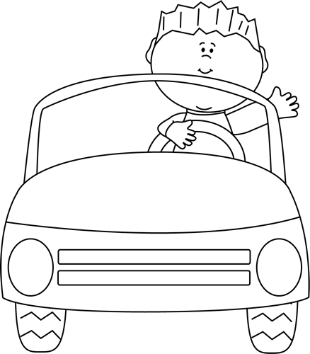 black and white boy driving car