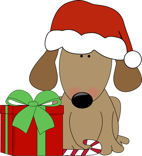 dog with christmas and candy
