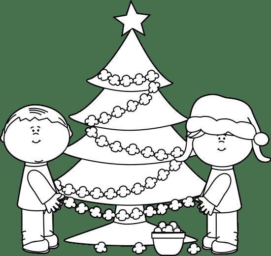 Black And White Popcorn Christmas Tree Clip Art
