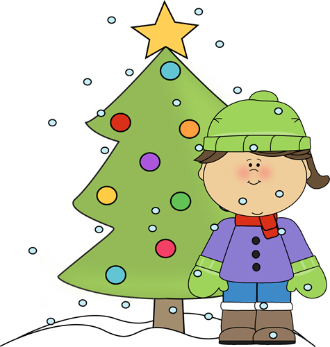 Little Girl with Christmas Tree in the Snow