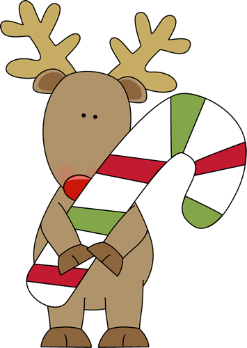 reindeer holding candy cane clip