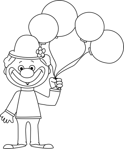black and white clown with balloons