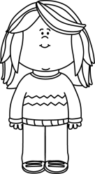 Girl clipart black and white