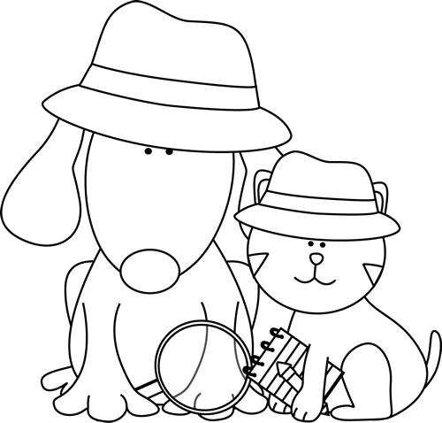 Black And White Detective Dog And Cat Clip Art Black And White Detective Dog And Cat Image