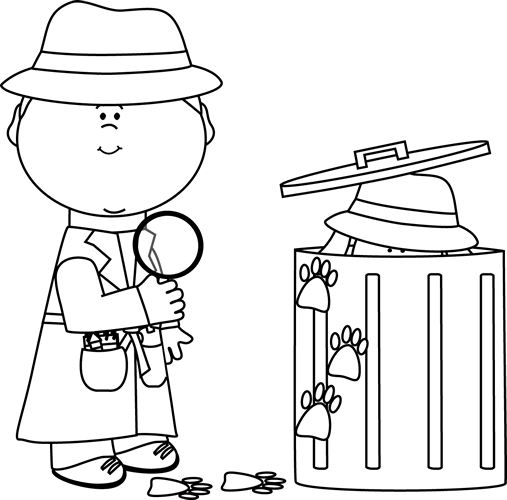 Black and White Detective Looking for Clues Clip Art