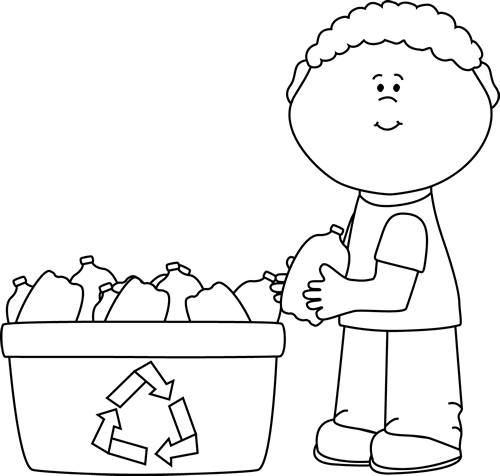 Black and White Boy Recycling Plastic Bottles Clip Art