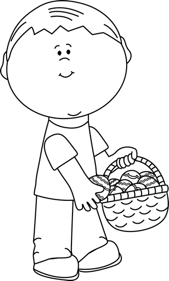 Black and White Boy Putting Eggs in an Easter Basket Clip