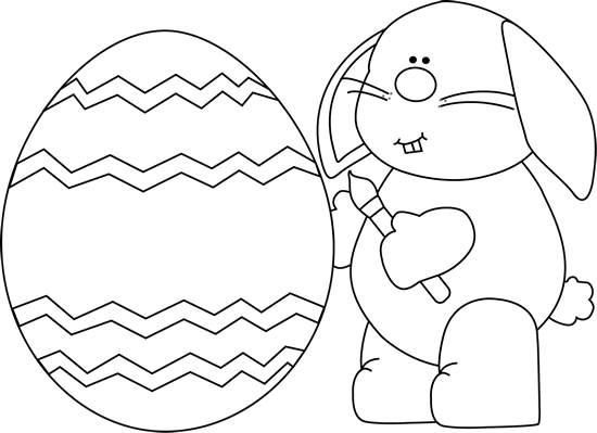 Black and White Bunny Painting an Easter Egg Clip Art