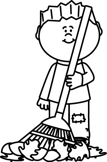 Cleaning Clipart Black And White : cleaning, clipart, black, white, Black, White, Raking, Leaves, Image
