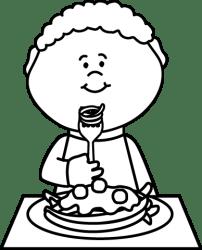 eating boy spaghetti clip food plate