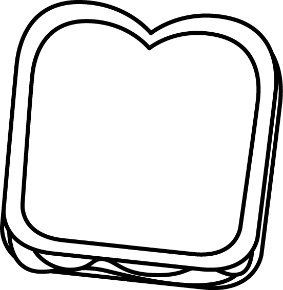Black and White Peanut Butter and Jelly Sandwich Clip Art