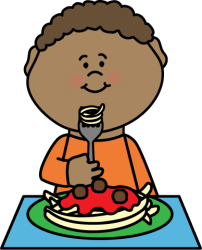 eating boy spaghetti clip food fork plate graphics holding