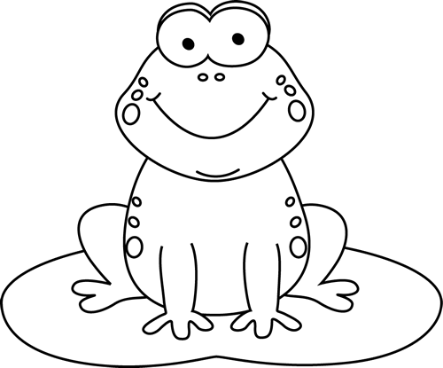 Black and White Cartoon Frog on a Lily Pad Clip Art