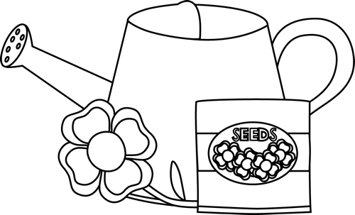 Black and White Water Can with a Flower and Seed Packet