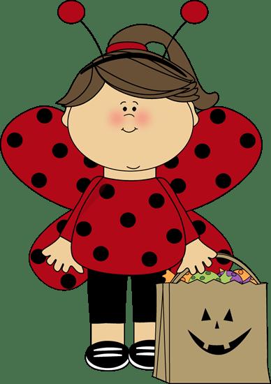 halloween ladybug girl clip art