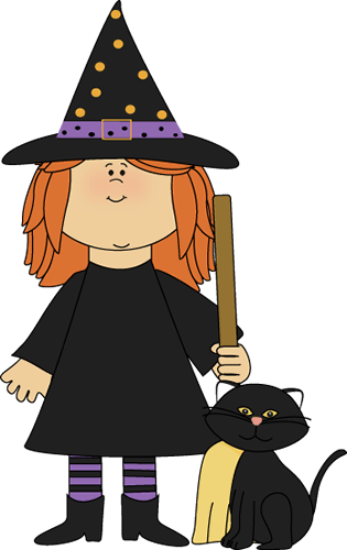 witch and black cat clip art