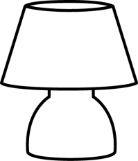 Black and White Small Lamp Clip Art - Black and White ...